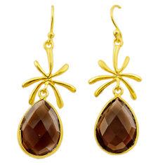 13.70cts brown smoky topaz 925 sterling silver 14k gold dangle earrings t44105