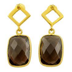 10.72cts brown smoky topaz 925 sterling silver 14k gold dangle earrings t44214