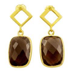 11.23cts brown smoky topaz 925 sterling silver 14k gold dangle earrings t44216