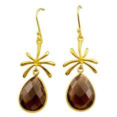 14.20cts brown smoky topaz 925 sterling silver 14k gold dangle earrings t44225