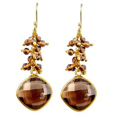 21.05cts brown smoky topaz 925 sterling silver 14k gold earrings jewelry r31547