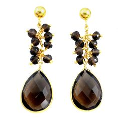 17.08cts brown smoky topaz handmade 14k gold dangle earrings jewelry t16623