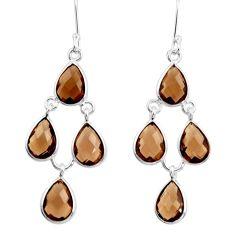 15.34cts brown smoky topaz 925 sterling silver chandelier earrings d39883