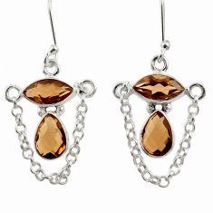 7.82cts brown smoky topaz 925 sterling silver dangle earrings jewelry d39905
