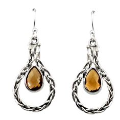 Clearance Sale- 5.11cts brown smoky topaz 925 sterling silver dangle earrings jewelry d40601