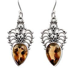 8.77cts brown smoky topaz 925 sterling silver dangle earrings jewelry d40955