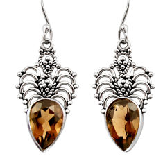 Clearance Sale- 8.80cts brown smoky topaz 925 sterling silver dangle earrings jewelry d40956