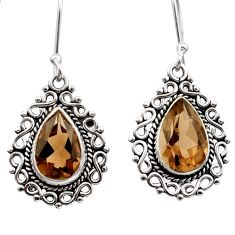 8.53cts brown smoky topaz 925 sterling silver dangle earrings jewelry d40958