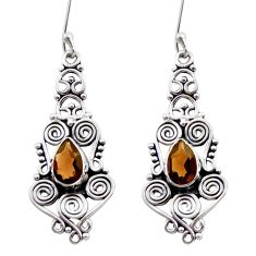 Clearance Sale- 4.55cts brown smoky topaz 925 sterling silver dangle earrings jewelry d40959