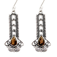 Clearance Sale- 4.52cts brown smoky topaz 925 sterling silver dangle earrings jewelry d41041