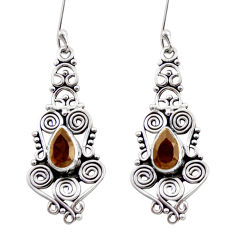 Clearance Sale- 4.73cts brown smoky topaz 925 sterling silver dangle earrings jewelry d41043