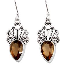 9.04cts brown smoky topaz 925 sterling silver dangle earrings jewelry d41045