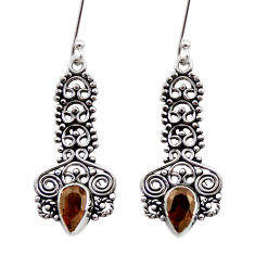 Clearance Sale- 4.22cts brown smoky topaz 925 sterling silver dangle earrings jewelry d41047