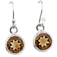 4.54cts brown smoky topaz 925 sterling silver dangle earrings jewelry r26701