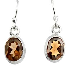 4.57cts brown smoky topaz 925 sterling silver dangle earrings jewelry r26702