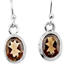 3.94cts brown smoky topaz 925 sterling silver dangle earrings jewelry r26726