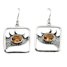 3.29cts brown smoky topaz 925 sterling silver dangle earrings jewelry r27010