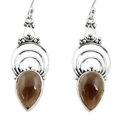 8.09cts brown smoky topaz 925 sterling silver dangle earrings jewelry r30861