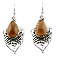 7.50cts brown smoky topaz 925 sterling silver dangle earrings jewelry r42306