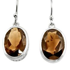12.03cts brown smoky topaz 925 sterling silver dangle earrings jewelry r45458