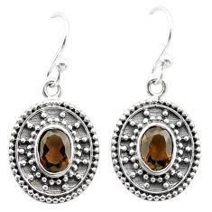 3.26cts brown smoky topaz 925 sterling silver dangle earrings jewelry t30109