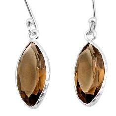 7.13cts brown smoky topaz 925 sterling silver dangle earrings jewelry t30224