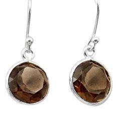 6.61cts brown smoky topaz 925 sterling silver dangle earrings jewelry t30227