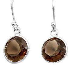 7.16cts brown smoky topaz 925 sterling silver dangle earrings jewelry t30229