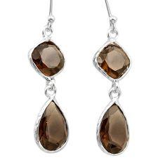 11.22cts brown smoky topaz 925 sterling silver dangle earrings jewelry t30246