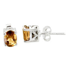 3.38cts brown smoky topaz 925 sterling silver stud earrings jewelry r87455