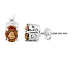 3.04cts brown smoky topaz 925 sterling silver stud earrings jewelry t4851