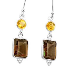 8.04cts brown smoky topaz citrine 925 sterling silver dangle earrings t30217
