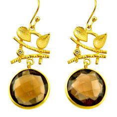 16.73cts brown smoky topaz topaz 925 silver 14k gold dangle earrings r31711