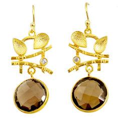 13.70cts brown smoky topaz topaz 14k gold handmade dangle earrings t11361