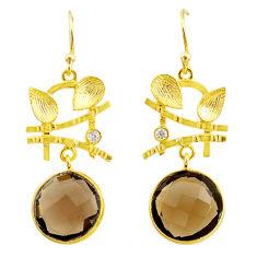 14.23cts brown smoky topaz topaz 14k gold handmade dangle earrings t11362
