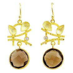 15.22cts brown smoky topaz topaz 14k gold handmade dangle earrings t11363