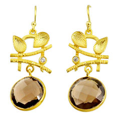 14.23cts brown smoky topaz topaz 14k gold handmade dangle earrings t11366