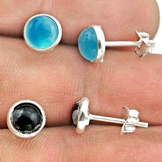 4.16cts chalcedony australian obsidian 925 silver 2 pair studs earrings t50874