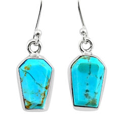 7.52cts coffin arizona mohave turquoise 925 silver dangle earrings r79999