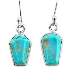 7.47cts coffin blue arizona mohave turquoise 925 silver dangle earrings r79995