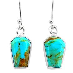 6.99cts coffin blue arizona mohave turquoise 925 silver dangle earrings r79996