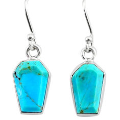 7.50cts coffin blue arizona mohave turquoise 925 silver dangle earrings r80001