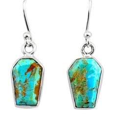 7.06cts coffin blue arizona mohave turquoise 925 silver dangle earrings r80003