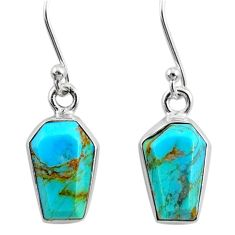 6.53cts coffin blue arizona mohave turquoise 925 silver dangle earrings r80026