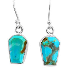 7.52cts coffin blue arizona mohave turquoise 925 silver dangle earrings r80027