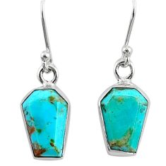 6.60cts coffin blue arizona mohave turquoise 925 silver dangle earrings r80052