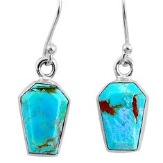 6.51cts coffin blue arizona mohave turquoise 925 silver dangle earrings r80053