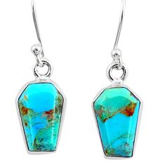 6.97cts coffin blue arizona mohave turquoise 925 sterling silver earrings r80078