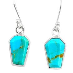 7.04cts coffin blue arizona mohave turquoise 925 sterling silver earrings r80080