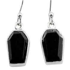 Clearance Sale- 7.87cts coffin natural black onyx 925 sterling silver dangle earrings t47885